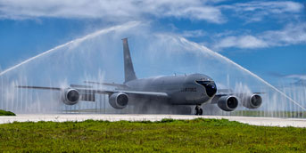 KC 135 rinse on the runway