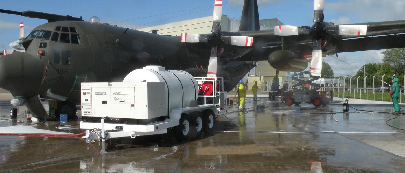 ARC next to a military aircraft