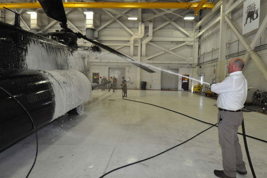 spraying off military helicopter