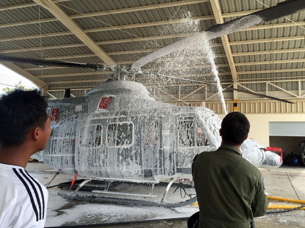 washing helicopter