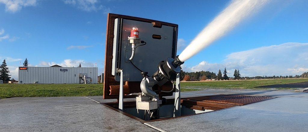 monitor vault spraying water